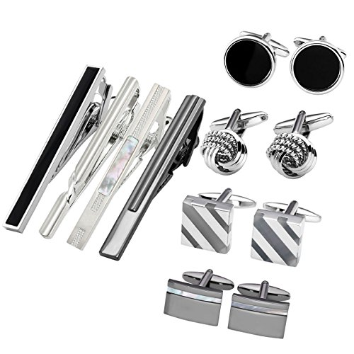 JOVIVI+12pcs+Stainless+Steel+Men%27s+Classic+Silver+Cufflinks+and+Tie+Bar+Set+for+French+Cuff+Dress+Shirts+with+Gift+Box