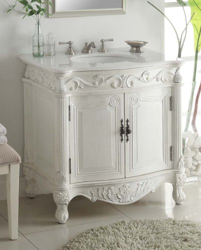 "32"" Traditional Style Fiesta Bathroom sink vanity cabinet CF-2873W-AW - Aw Antique Bathroom Vanity"