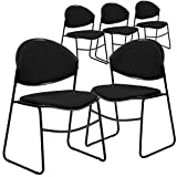Flash Furniture 5 Pk. HERCULES Series 550 lb. Capacity Black Padded Stack Chair with Black Frame