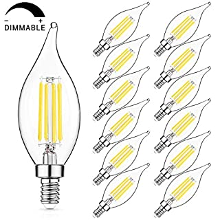 LED Candelabra Bulb, 60W Equivalent, Dimmable 5000K Daylight White, E12 Base LED Chandelier Light Bulbs 6W, 600LM CA11 Flame Tip LED Edison Filament Candle Bulb, 12 Pack