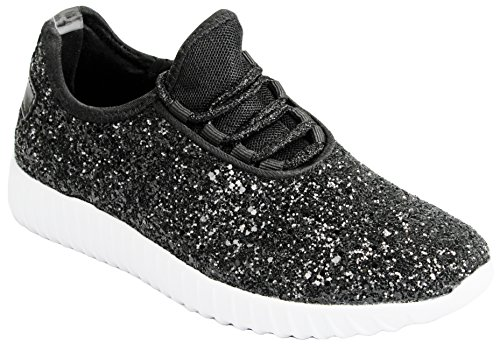JJF Shoes Girls Toddlers Black Fashion Metallic Sequins Glitter Lace up Light Weight Stylish Sneaker ()