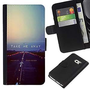 KingStore / Leather Etui en cuir / Samsung Galaxy S6 EDGE / Volar Libertad Rebel Cita triste