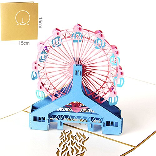 Queeni 3D Pop Up Creative Greeting Cards Handmade Thank You Thanksgiving Happy Birthday Post Card (Ferris wheel)
