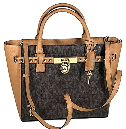 Michael Kors Women's Hamilton Traveler STUDDED Large TOTE Leather Handbag (Brown/Acorn) (Michael Kors Iphone 5 Cover)