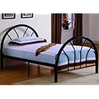 Roundhill Furniture Belledica Metal Bed Set with Headboard, Black, Twin
