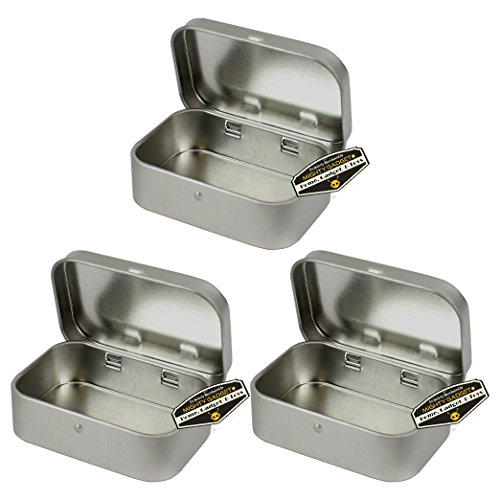 Mighty Gadget (R) Mini Size Empty Hinged Lid Survival Tin Container for Geocaching or Survival Gear (3 Pack)