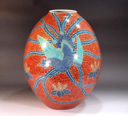有田焼伊万里焼|花瓶陶器花器壺|贈答品|高級ギフト|記念品|贈り物|雲文様鳳凰藤井錦彩 B00HQZIK5Y
