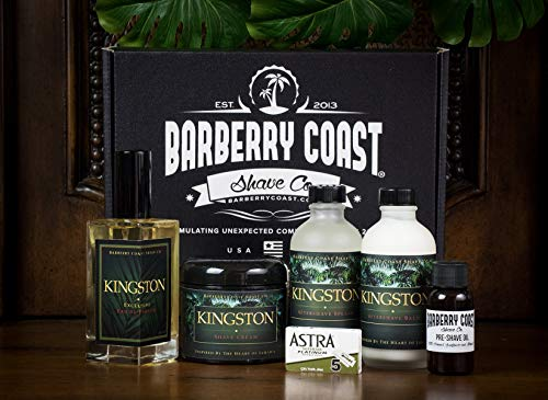 Kingston Shaving & Cologne Box Gift Set - Includes EdP Cologne, After Shave Splash & Balm, Shave Cream & Pre-Shave Oil with 5 Double-Edge Razor Blades by Barberry Coast Shave Co.