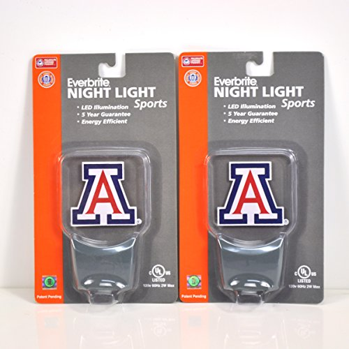 Arizona Led Sign - Authentic Street Signs 2-Pack NCAA Officially Licensed, LED Night Light, Super Energy Efficient-Prime Power Saving 0.5 watt,Great Sports Fan Gift for Adults-Babies-Kids (Arizona Wildcats)