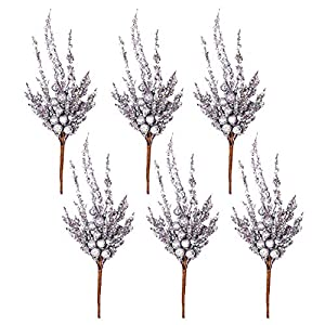 Valery Madelyn 6 Packs Silver Glitter Christmas Picks with Artificial Berry and Frozen Leave for Christmas Decoration and Home Decor