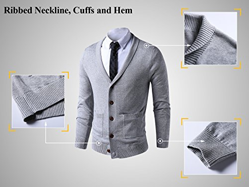 LTIFONE Mens Slim Fit Soft Cable Knit Shawl Collar Button Down Cardigan Sweater Ribbing Edge(Grey,M) by LTIFONE (Image #3)