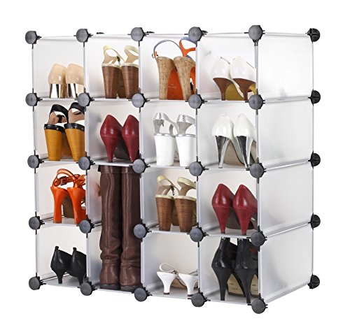 (VonHaus 16x Interlocking Shoe Cubby Organizer Storage Cube Shoes Rack in Transparent White - Build Into Any Shape or Size to Organize Shoes, Clothing, Toys and DVDs)