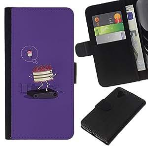 Supergiant (Cake Diet Funny Poster Motivational) Dibujo PU billetera de cuero Funda Case Caso de la piel de la bolsa protectora Para LG Nexus 5 D820 D821