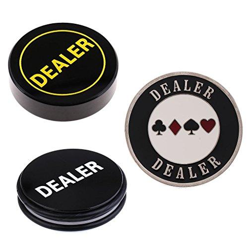 Flameer ポーカーカードカジノ ゲーム 両面 白/黒 ディーラーボタン チップ テキサスホールデム ポーカーガード