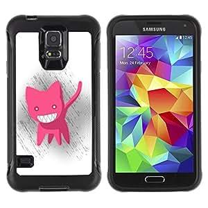 Paccase / Suave TPU GEL Caso Carcasa de Protección Funda para - Pink Cat Animation Big White Teeth Evil Smile - Samsung Galaxy S5 SM-G900
