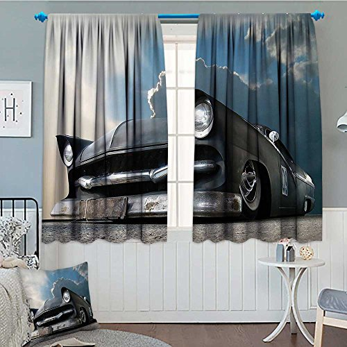 - Strongger Manly Decor Collection Blackout Window Curtain Custom Made Matt Show Car and Dramatic Sky Clouds Broken Classics Cloudscape Customized Curtains 72