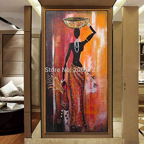 SUNNYWLH Pintura Mural Pintado A Mano Figura Pintura Al Oleo Mujer Africana Arte De La Lona Clasico Grande Vertical Africa Nina Pared Imagen Decorativa