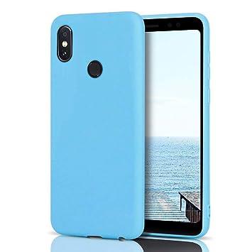 MoEvn Funda Xiaomi Redmi Note 5 Silicona, Baby Blue Redmi Note 5 Carcasa Mate Case Cover TPU Suave Slim Anti Skid Anti Rasguño Candy Color Gel Funda ...