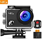 APEMAN Action Camera 4K Wi-Fi Waterproof Underwater Camera Ultra Full HD Sport Cam 30M Diving with 2' LCD 170°Wide-angle/2.4G Remote Control/2 Rechargeable Batteries/20 Accessories Kits