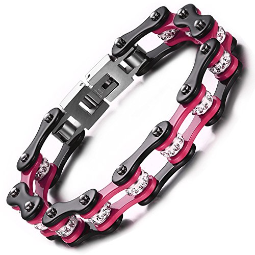 BEMI Cool Style Gothic 10MM Wide Bike Motorcycle Chain Polished Stainless Steel Link Bracelet for Men Pink - Polished Link Chain Bracelet