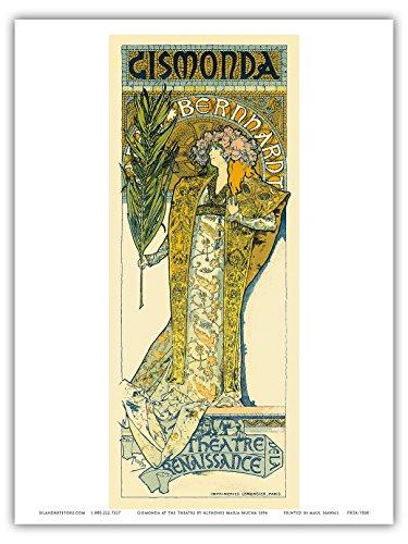 """Sarah Bernhardt (1844-1923) as Gismonda at the Theatre de la Renaissance (Renaissance Theater), Porte Saint Martin, Paris, France; Belle Époque, Art Nouveau, Art Deco; Vintage French advertising; """"Les Maitres de l'Affiche""""- French Advertising Poster by Alphonse Mucha c.1894 - Master Art Print - 9in x 12in"""