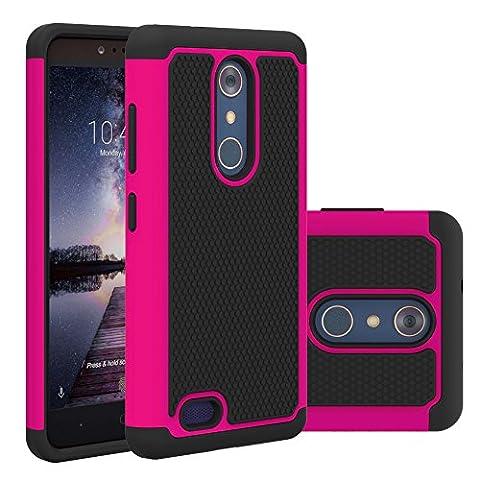 ZTE ZMAX Pro Case, ZTE Carry Z981 Case, MCUK [Scratch Resistant] [Shock Absorption] [Drop Protection] Hybrid Best Impact Defender Rugged Protective Case for ZTE ZMAX Pro/Carry Z981 (Zte Zmax Phone Case Pink Hybrid)