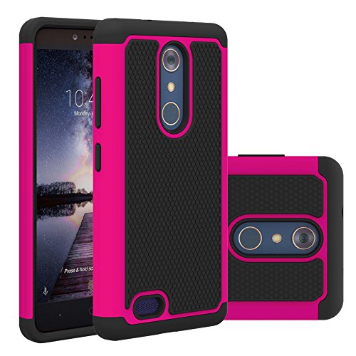 ZTE Zmax Pro Case, NOKEA [Shock Absorption] Drop Protection Hybrid Dual Layer Armor Defender [Anti-Slip] [Scratch Impact Resistant] Protective Case Cover for ZTE Zmax Pro / Carry Z981 (Rose)