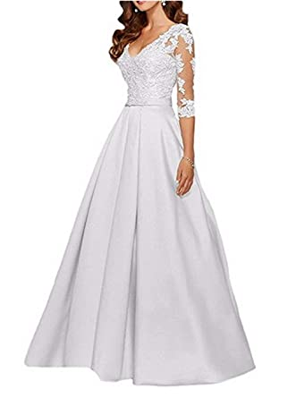 26d406a0464 Formal Dress Applique V Neck A Line Prom Elegant Long Dresses Graduation  Dresses White Size 2