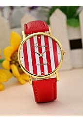 Geneva Platinum 12973212 Women's Faux Leather Stripe Watch-HOT PINK/WHITE