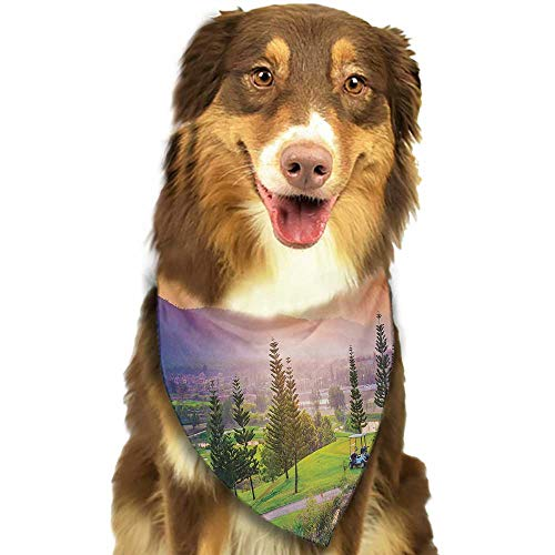 Pet Dog Scarf Nature Golf Resort Park in Spring Season with Trees Sunset Hills and Valley End of The Day W27.5 xL12 Scarf for Small and Medium Dogs and Cats