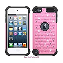 iPod Touch 5 ,iPod Touch 6,Lantier Thin Slim Fit Studded Rhinestone Crystal Bling Hybrid Armor Case Cover for Apple iPod Touch 5 / iPod Touch 6 Pink+Black
