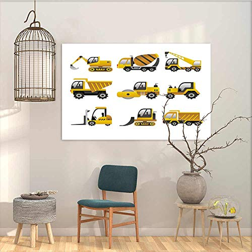 Oncegod Art Original Oil Painting Sticker Construction Big Vehicles Icon Collection Engineering Building Theme Clip Art Style for Home Decoration Wall Decor Yellow Grey White W27 xL19 ()