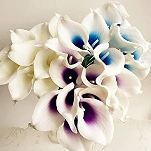 jiumengya 20pcs Blue Heart Color Artificial Real Touch Calla Lily Life Like Callas Flower for Wedding Bouquet Artificial Decorative Flowers (Blue) 3