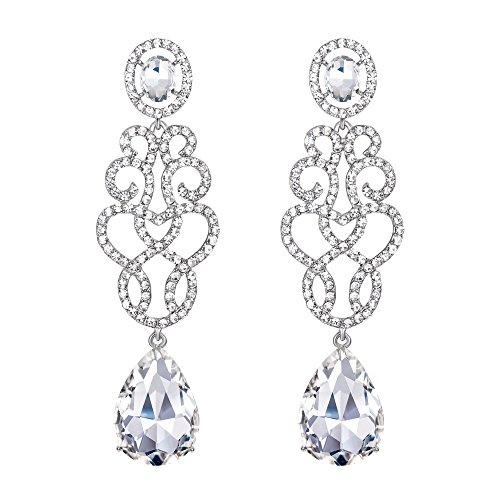 BriLove Wedding Bridal Dangle Earrings for Women Crystal Floral Filigree Teardrop Chandelier Earrings Clear Silver-Tone