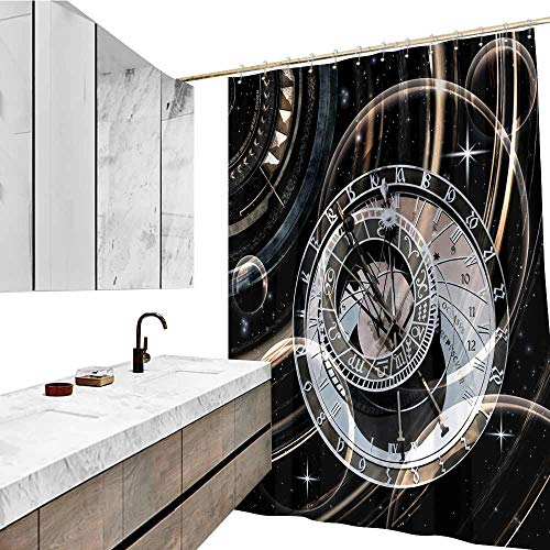 - Shower Curtain Spa, Infinite Time D Illustration Pattern, W96 xL72, Waterproof Polyester Bathtub with 12 Hooks.