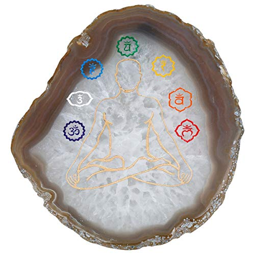 (rockcloud 1 PC 7 Chakra Agate Slices Geode Stones,Place Card,Irregular Home Decoration Healing Crystals Collection 3.5-4.3