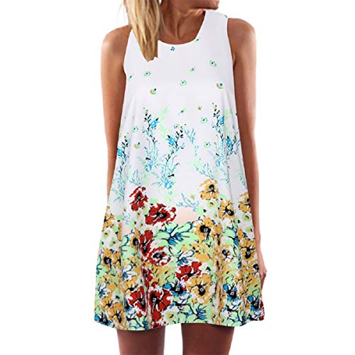 (Wintialy Vintage Boho Women Summer Sleeveless Beach Printed Short Mini Dress (XX-Large, Z-Watercolor Flower))