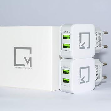Cargador USB Charger (PACK de 2 Cargadores USB Duales) Carga Inteligente a un Máximo de 2.5