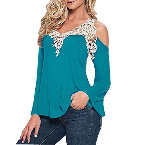 Tops Cotone T Lunga Donna V Camicia Neck Bluse Azzurro Shirt Pizzo Maglia Stylish EznqPwnX