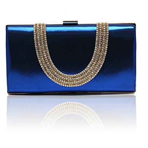 Señoras De La Cena Del Diamante Del Bolso De La PU De Los Bolsos De Las Señoras De Banquetes Pequeña Bolsa Blue