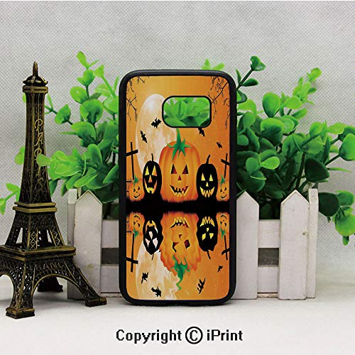 Spooky Carved Halloween Pumpkin Full Moon with Bats and Grave Lake S7 Full Body Protector Shockproof Cover Black Soft TPU and PC Protection Anti-Slippery Case for Samsung S7 Orange Black -