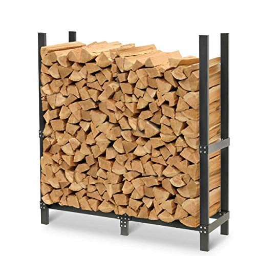 """Pilgrim Home and Hearth 19432 Pro 48"""" Outdoor Firewood Rack Log Holder with Cover, Durable Black Powder Coat"""