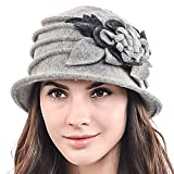 F&N STORY Women's Elegant Flower Wool Cloche Bucket Ridgy Bowler Hat 09-co20 (Light Gray)