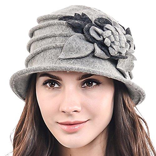 Grey Wool Hat - F&N STORY Women's Elegant Flower Wool Cloche Bucket Ridgy Bowler Hat 09-co20 (Light Gray)