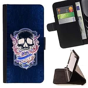 BullDog Case - FOR/LG OPTIMUS L90 / - / NEON PURPLE SKULL WINGS BLUE PURPLE /- Monedero de cuero de la PU Llevar cubierta de la caja con el ID Credit Card Slots Flip funda de cuer