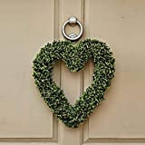 Garden Mile Large Artificial 40cm Luxury Boxwood Topiary Heart Door Wreath Home Decor Grave Memorial Door Wreath Hanging Garden Ornament