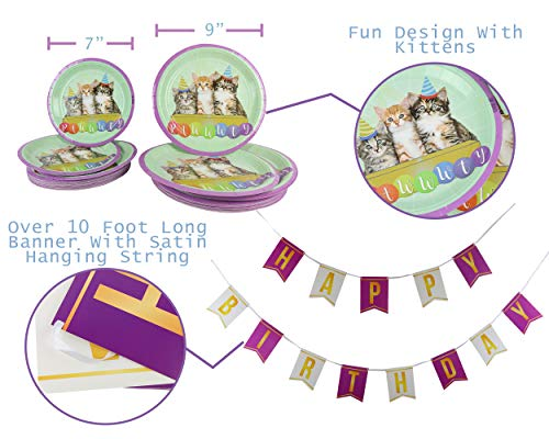 Cat Kitty Birthday Party Supplies Decorations The 141 Piece Serves 20 Celebration Themed Pack