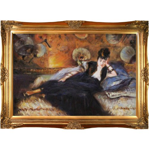 overstockArt Edouard Manet Lady with Fans Portrait of Nina De Callais Oil Painting with Victorian Gold Frame, Gold (Victorian Woman Portrait)