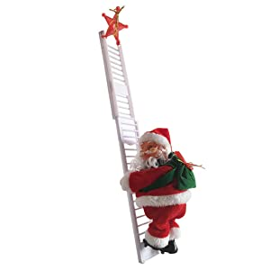Guo Nuoen 2Pcs Santa Claus + Climbing Ladder Electric Music Hanging Figurine Ornament Christmas Tree Decor Kid Toy Gift