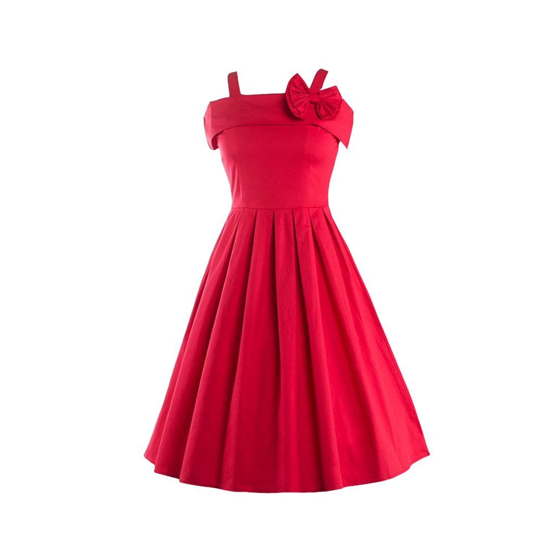 iPretty elegant Damen Faltenrock Knielang Schlinge Ärmellos Sommerkleid Retro Vintage Party Cocktailkleider Abendkleider Rot